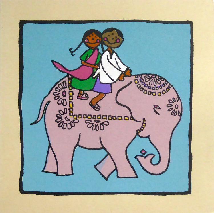 Brevkort av kraftigt hampapapper, vikt kort. Motiv Glada barn ridande smyckad elefant. Handgjort. Med kuvert