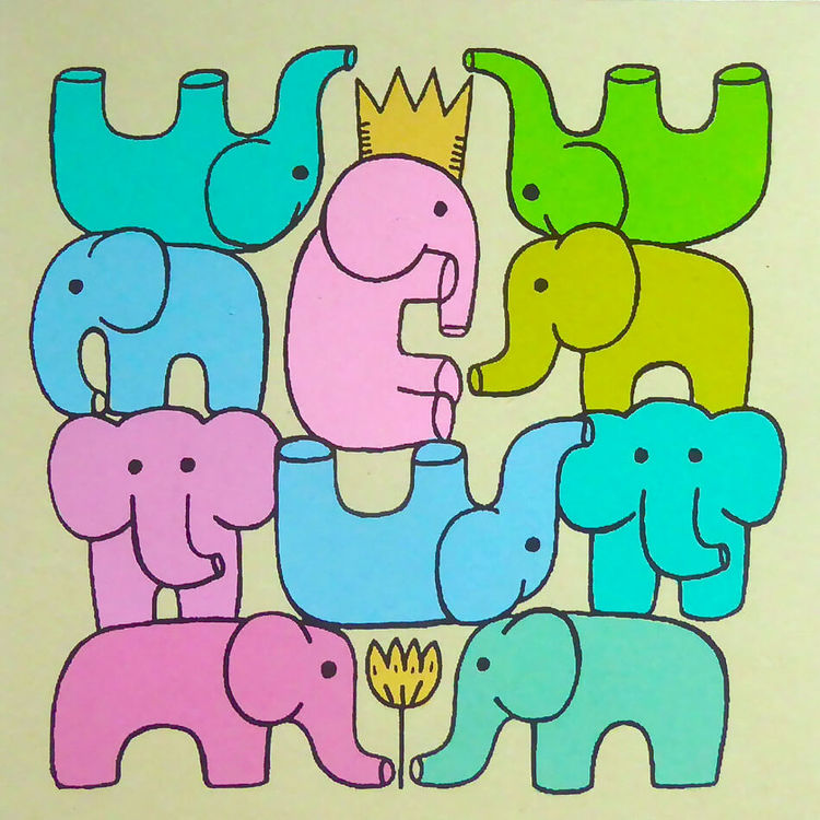 Brevkort med kuvert, Glada elefanter, hampa