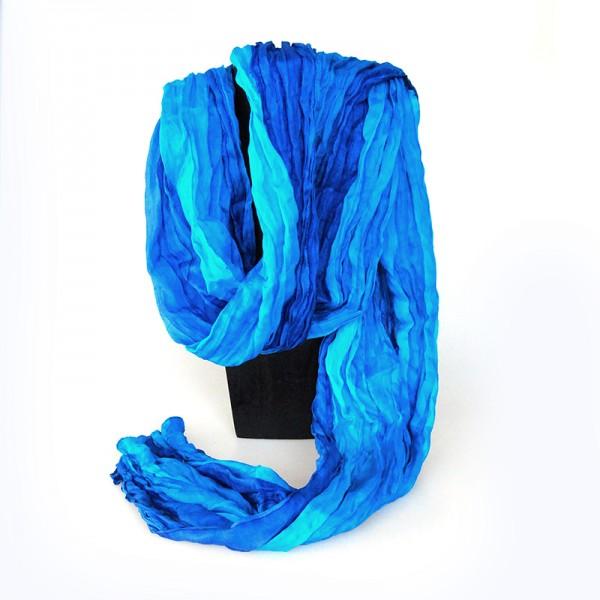 Sjal, scarf, siden, silke, blå nyanser