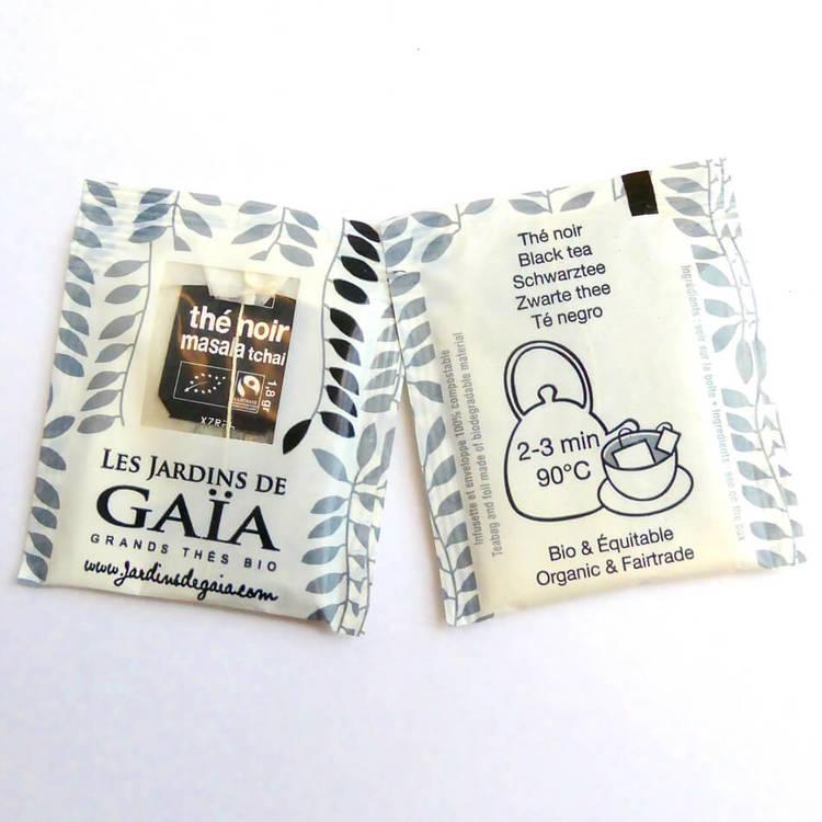 Påste, kryddat svartte, Fairtrade & ekologiakt. Les Jardins de Gaia. Exempel på påse och kuvert.
