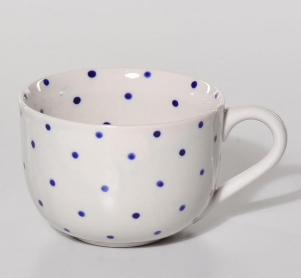 "Mugg, stor, ""Indigo prickig"", keramik"