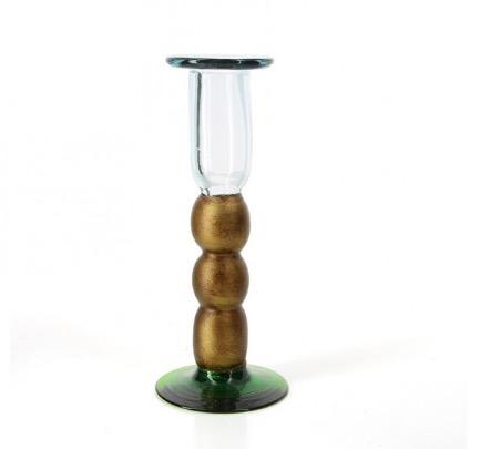 Ljusstake av återvunnet glas, munblåst. Höjd 19 cm. Fair Trade från Meico.
