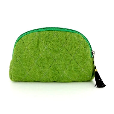 Sminkväska, tovad, grön