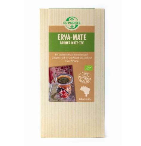 Erva mate eller yerba mate, grönt mate-te.  Ekologiskt från Brasilien. Fair Trade. Avnjuts traditionellt  i kalebass med bombilla.