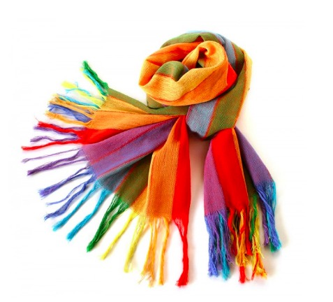 "Sjal, scarf ""Regnbåge"", bomull, Ecuador"