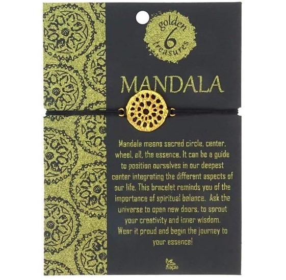 Armband med fint mandala-smycke, 24 karat gulddouble, guldpläterat. Guldet är certifierat Fairmined, Colombia. Armsmycket skapades av konstnärsverkstad i Bogota enligt Fair Trade. Orignalförpackning.