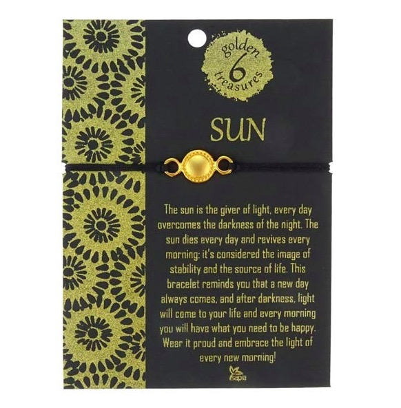 Armband med solen som smycke, 24 karat, gulddouble, Fairminde-certifiering Colombia. Textilarmband med glidande knut. Fair Trade.