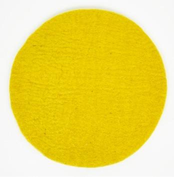 Sittdyna Felt Solo, varmgul färg, diameter 38 cm. Handtovad i Nepal för Afroart.