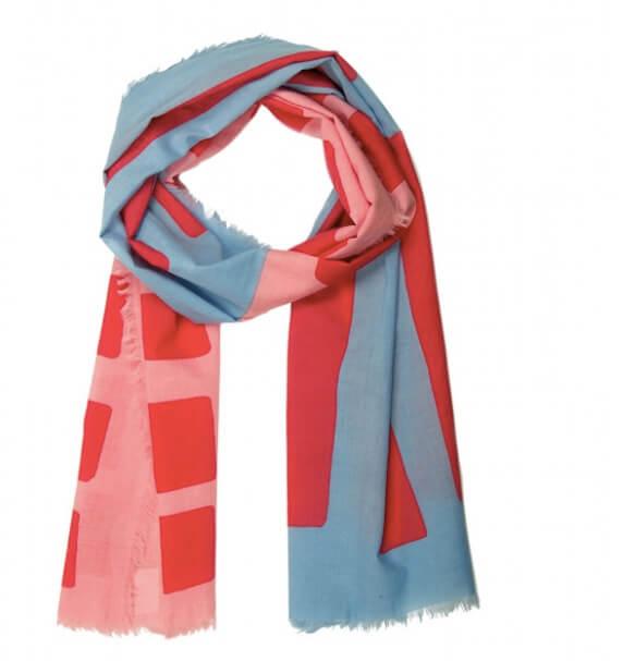 Sjal, scarf, ekologisk bomull, blå-rosa-röd