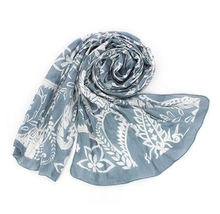 Sjal, scarf, bomull, ljusgrå/vit