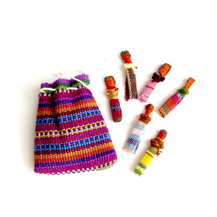 Bekymmersdockor, Worry Dolls,  6 små dockor, tygpåse