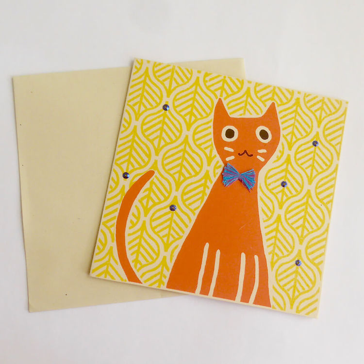 Brevkort, orange katt med krawatt, handgjort