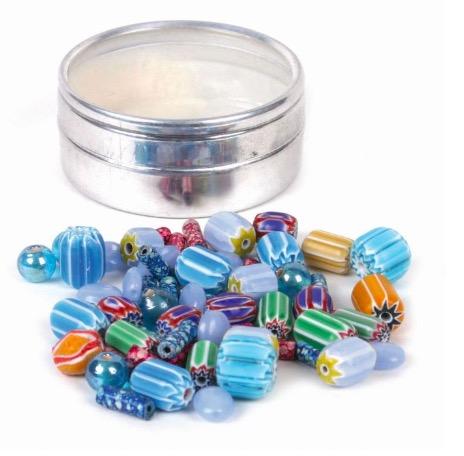 DIY, Smyckeset, pärlor glas & keramik, turkisa färger