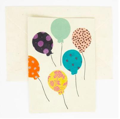 "Brevkort ""Balloons"" handgjort papper, Afroart"