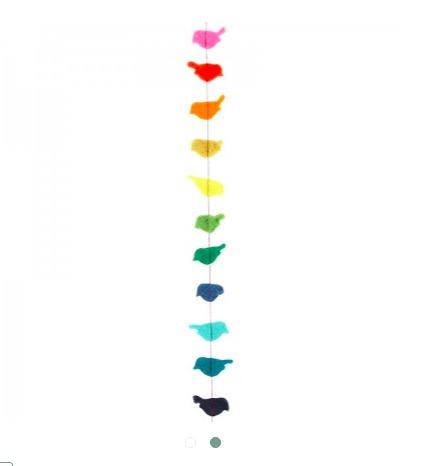Handtovad girlang med småfåglar i olika färger, 150cm. Fair Trade från Nepal.