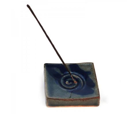 """Rökelsehållare """"Spiral"""", glaserad keramik, blå"""