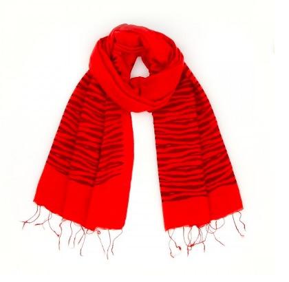 Sjal, scarf, siden/viskos, ränder, röd, handvävd