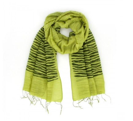Sjal, scarf, siden/viskos, ränder, ljusgrön, handvävd