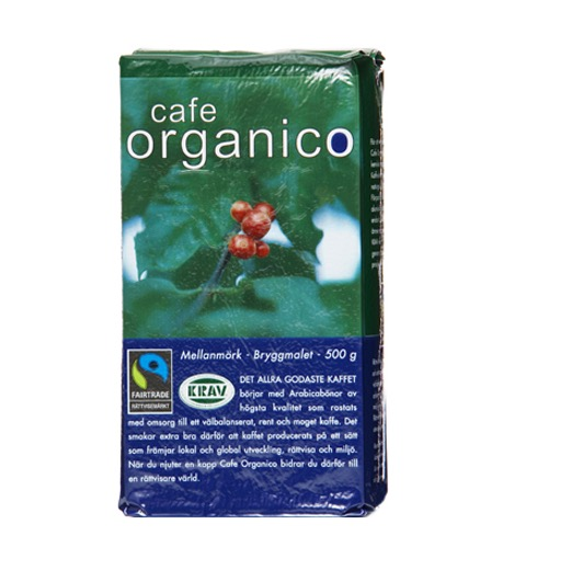 Cafe Organico bryggmalet mellanmörk på arabicabönor från Mexiko. Kraftfull karaktär. Ekologiskt, Fairtrade, klimatkompenserat.