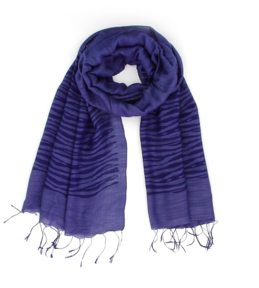 Sjal, scarf, siden/viskos, ränder, mörkblå, handvävd