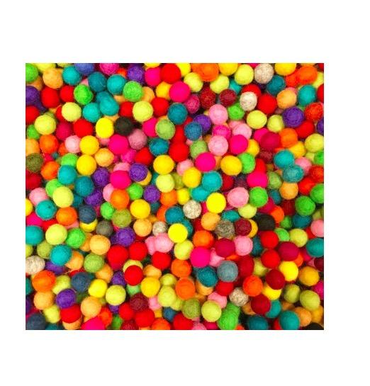 Små ullbollar, 50 styck, DIY, 1-1,5cm, multicolor