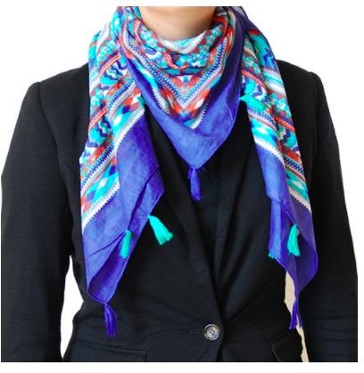"Sjal, scarf ""Quadro"", bomull, kvadratisk, blå"