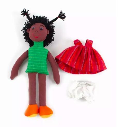 Liten docka att klä på/av, 3 delar, handvävd bomull
