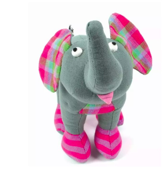 Elefant, soft toy, handvävt bomullstyg, Sri Lanka