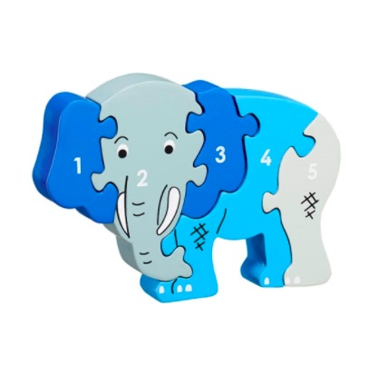 Pusseldjur Elefant, med siffrorna 1-5. En rolig räkneleksak för yngre barn. Fair Trade.