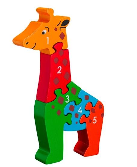Pusseldjur Giraff, med siffrorna 1-5. En rolig räkneleksak för yngre barn. Fair Trade.