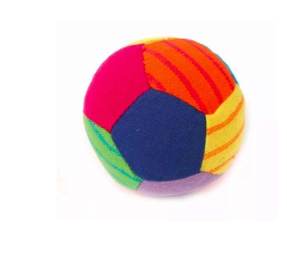 Mjuk boll med rassel,  soft toy, handvävd bomull