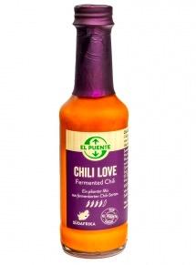 Chilisås Chili Love, Fermenterad chili, med serrano-chili och birdseye-chili. Till wok, dip och topping på pizza. Fair Trade.