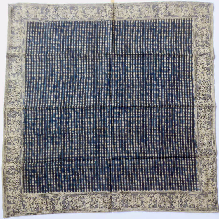 Kalamkari halsduk, med mörka sträck