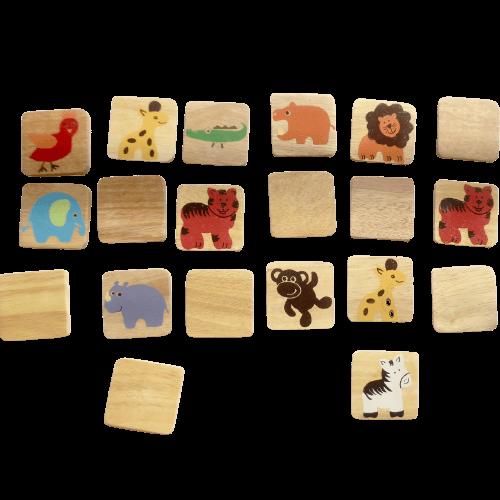 """Memoryspel """"Safari"""", 20 träbrickor"""