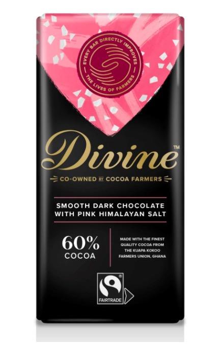Dark Chocolate with Pink Himalayan Salt, en smakrik mörk choklad med bergsalt. Vegansk, Fairtrade.