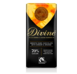 Dark Chocolate with Ginger and Orange: en mörk choklad med smak av ingefära & apelsin. 70 % kakao, Fairtrade.