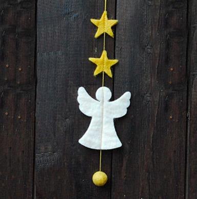 Mini-girlang Ängel med stjärnor, tovad