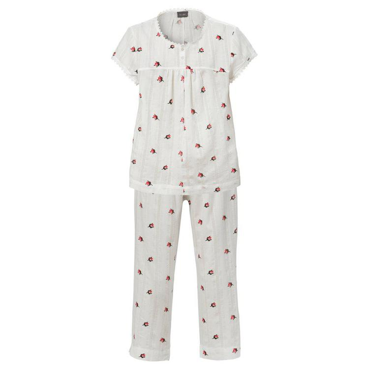 Trofé pyjamas i bomull 61117 Vit/rosenknopp