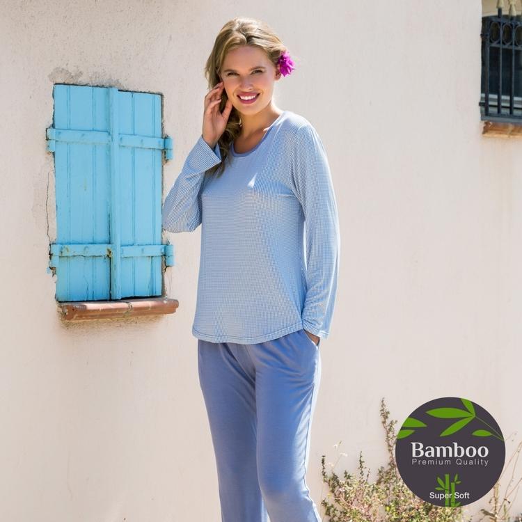 Lady Avenue pyjamas Bamboo 67-409 Denim Pepita