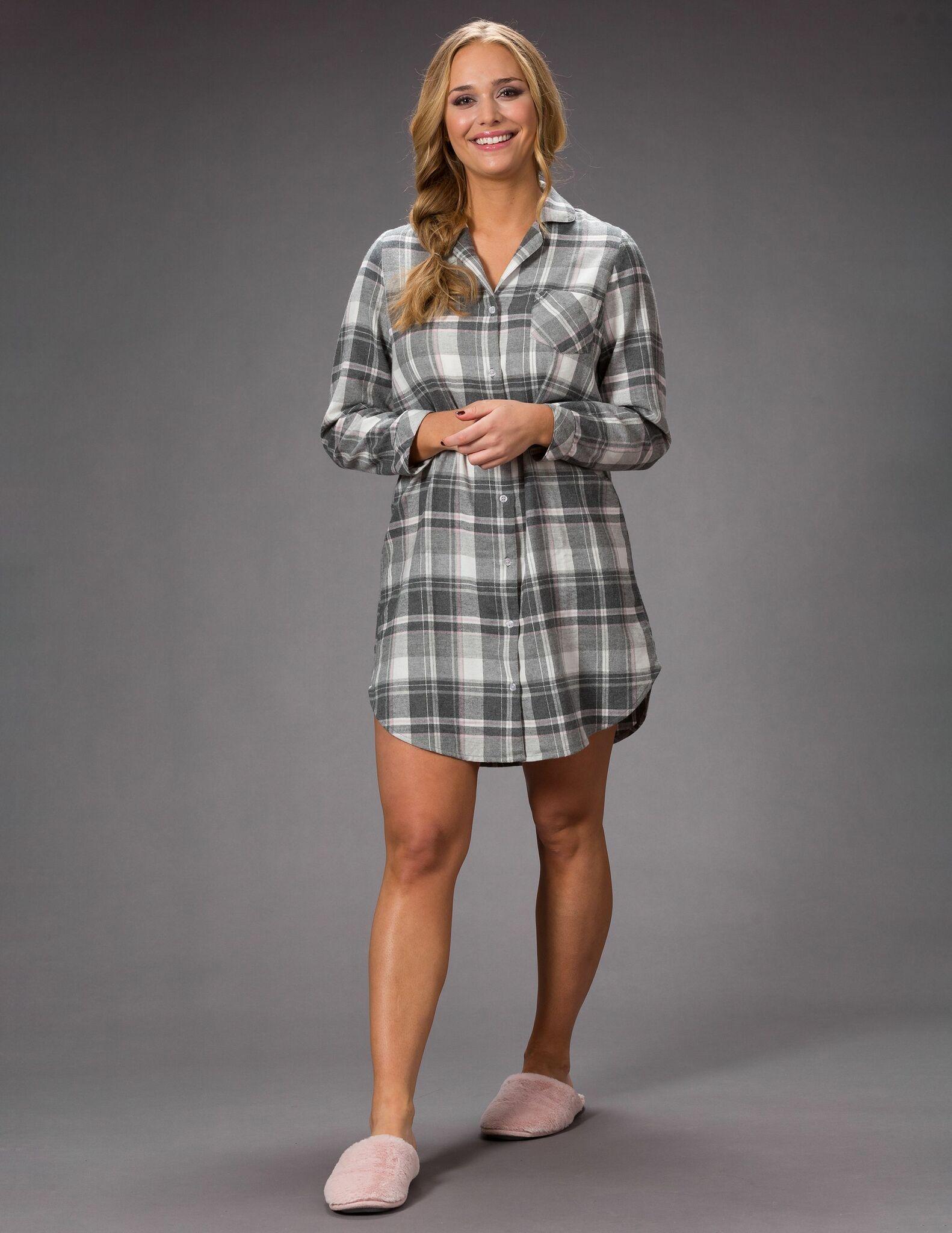 Trofé nattskjorta flanell 61247 grå