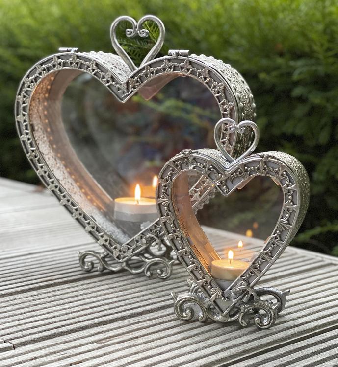 Lykta hjärta antiksilver-S
