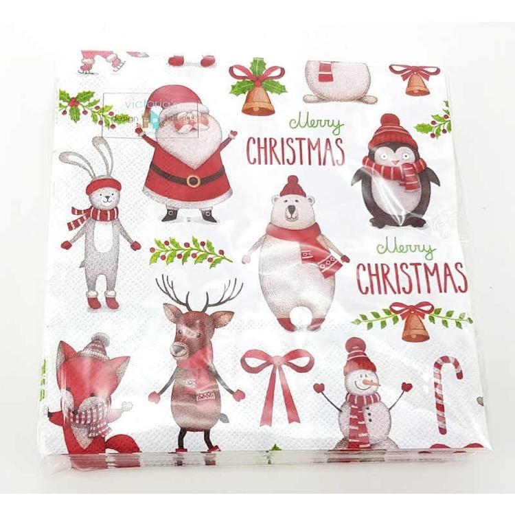Servetter Figurer- Merry Christmas