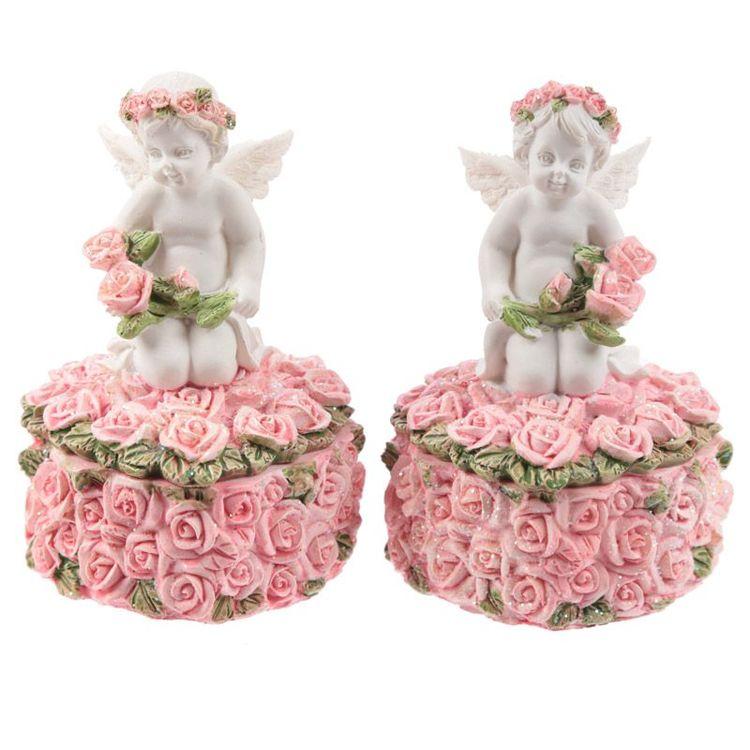 Ask med änglar och rosor