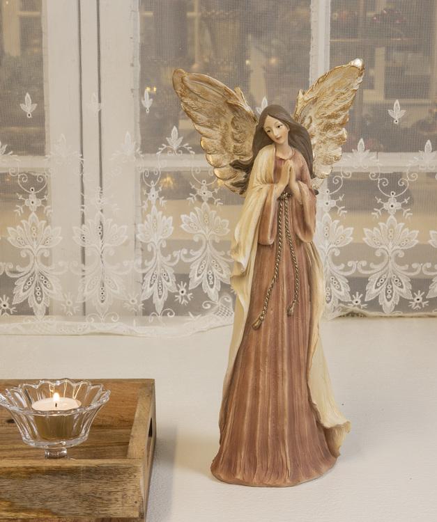 Bedjande ängel i rosa och guld