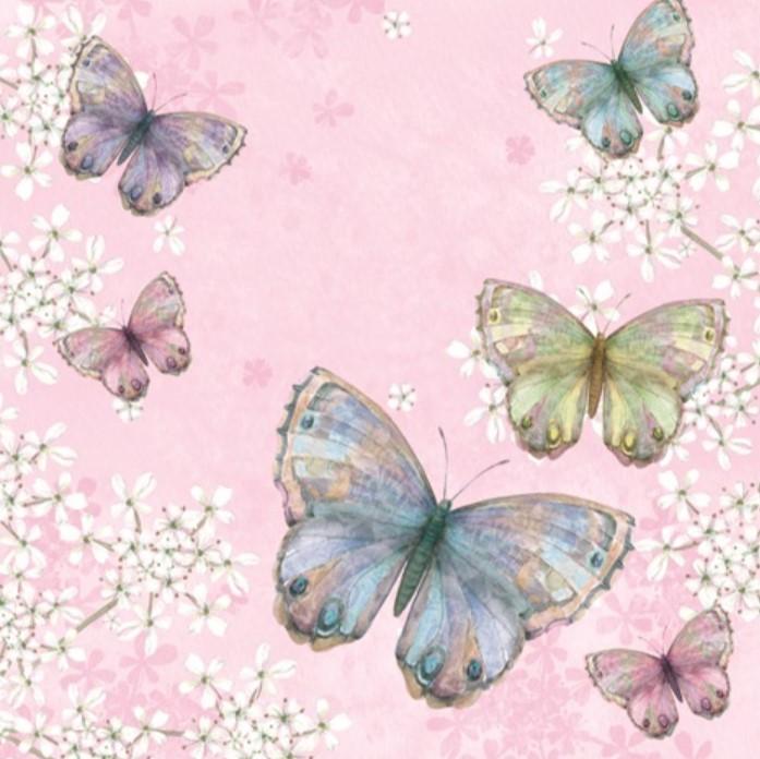 Servetter Fjärilar- Rosa