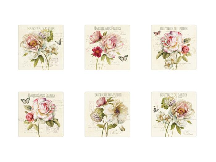 Coasters 6-p Marche Fleurs