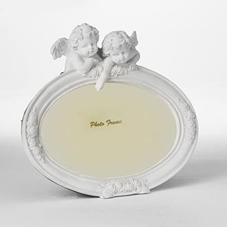 Oval fotoram med änglar
